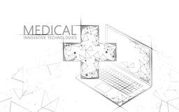 Концепция медицинского перекрестного доктора символа онлайн Приложение медицинской консультации Больница диагноза здравоохранения иллюстрация штока