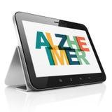 Концепция медицины: Планшет с Alzheimer на дисплее иллюстрация штока