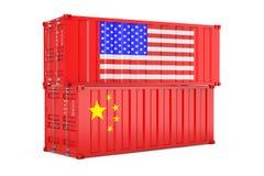 Концепция международный грузить Контейнеры грузовых перевозок с США и флагом Китая r иллюстрация вектора