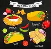 Концепция мексиканского меню еды иллюстрация штока