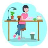 Концепция места для работы с приборами Студент девушки на рабочем месте с графическим планшетом Женщина, коммерсантка, график-диз бесплатная иллюстрация