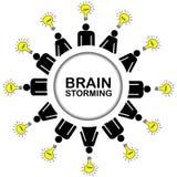 Концепция метода мозгового штурма при люди имея идеи Стоковые Фото