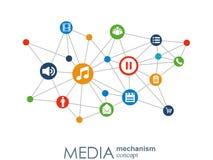 Концепция механизма средств массовой информации Предпосылка с интегрированными шариками меты, интегрированный значок для цифровог Стоковые Изображения