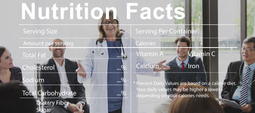 Концепция медицинской диеты фактов питания питательная стоковые изображения rf