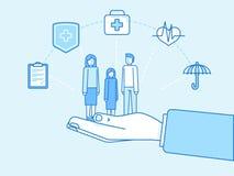 Концепция медицинской страховки - дизайн иллюстрации и infographics иллюстрация вектора