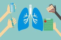 Концепция медицины - легкие формируют и руки с медицинскими вещами Стоковые Изображения RF