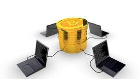 Концепция минирования Bitcoin иллюстрация вектора