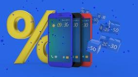 Концепция мобильного телефона в кампании скидки, переводе 3d Стоковая Фотография