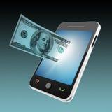 Концепция мобильного телефона и денег Стоковая Фотография