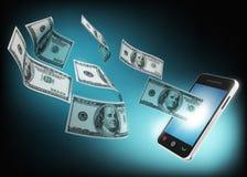 Концепция мобильного телефона и денег Стоковое фото RF