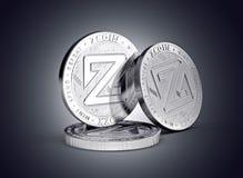 Концепция монетки cryptocurrency Zcoin физическая на нежно освещенной темной предпосылке бесплатная иллюстрация