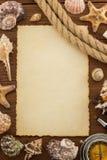 Концепция моря и постаретая бумага Стоковое Изображение