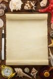 Концепция моря и постаретая бумага Стоковые Фото