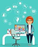 Концепция молодой бизнес-леди работая в офисе иллюстрация вектора