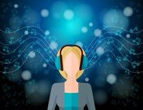 Концепция музыки слушая Стоковое Изображение RF