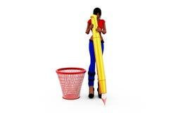 концепция мусорной корзины женщины 3d Стоковые Изображения