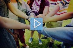 Концепция мультимедиа кнопки старта игры стоковая фотография