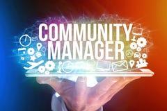 Концепция названия менеджера общины интерфейса человека футуристического и Стоковые Изображения