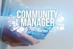 Концепция названия менеджера общины интерфейса человека футуристического и Стоковое Фото