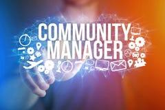 Концепция названия менеджера общины интерфейса человека футуристического и Стоковые Изображения RF