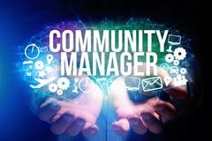 Концепция названия менеджера общины интерфейса человека футуристического и Стоковые Фото