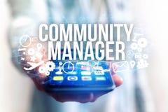 Концепция названия менеджера общины интерфейса человека футуристического и Стоковое Изображение