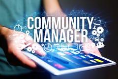 Концепция названия менеджера общины интерфейса человека футуристического и Стоковое фото RF