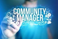 Концепция названия менеджера общины интерфейса человека футуристического и Стоковое Изображение RF