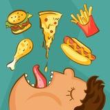 Концепция наркомании фаст-фуда Нездоровое зачатие питания Брюзгливый человек и различные блюда в стиле шаржа также вектор иллюстр иллюстрация вектора