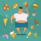 Концепция наркомании фаст-фуда Нездоровое зачатие питания Тучный человек и различные блюда в стиле шаржа также вектор иллюстрации иллюстрация вектора