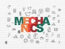 Концепция науки: Механики на предпосылке стены иллюстрация штока