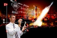 Концепция научно-исследовательская работа по изучению космоса Стоковое Изображение RF