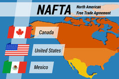 Концепция НАФТА с флагами и картой Стоковая Фотография RF
