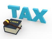 концепция налоговых законов 3d с деревянным молотком Стоковое Изображение RF