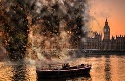 Концепция на парламенте Великобритании, Вестминстер взрыва, Лондон, В стоковые фотографии rf