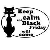 Концепция на черной пятнице с фразой мотировать и изображением кота вектор Стоковые Фото