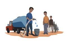 Концепция немногочисленности воды Африканская стойка людей в линии для воды Тележка воды Иллюстрация вектора изолированная на бел иллюстрация вектора