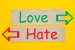 Концепция ненависти любов стоковая фотография