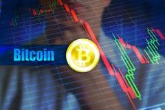Концепция неустойчивости Bitcoin Быстрое изменение, падая диаграмма цены bitcoin стоковые изображения