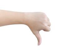 Концепция нелюбов руки на белой предпосылке Стоковая Фотография