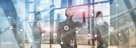 Концепция нововведения автоматизации диаграммы потока операций структуры бизнес-процесса промышленная на мультимедиа виртуального стоковое изображение