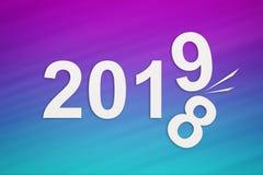 Концепция Нового Года, завертывает 2019 в бумагу изменяя 2018 Абстрактное схематическое изображение бесплатная иллюстрация