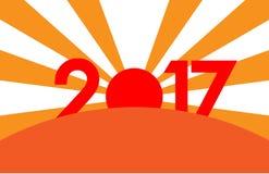 Концепция Нового Года - восход солнца с числами 2017 Стоковое Изображение RF