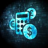 Концепция новостей: Калькулятор на цифровой предпосылке Стоковое Изображение