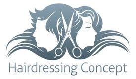 Концепция ножниц парикмахера человека и женщины иллюстрация штока