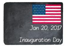 Концепция дня вступления президента в должность используя мел на классн классном шифера Стоковое Фото