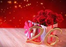 Концепция дня рождения с красными розами в подарке на деревянном столе двадцать шестое 26th 3d представляют Стоковые Изображения