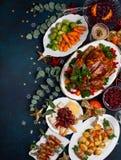 Концепция обедающего рождества или Нового Года Взгляд сверху стоковые фотографии rf