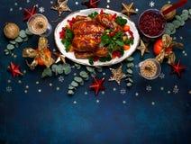 Концепция обедающего рождества или Нового Года Взгляд сверху стоковое изображение