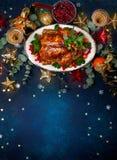 Концепция обедающего рождества или Нового Года Взгляд сверху стоковые изображения